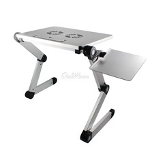 Silver 360 Degree Adjustable T3 Aluminum PC Notebook Laptop Folding Desk Stand Table Mouse Pad Heat Dissipation Fan(China (Mainland))