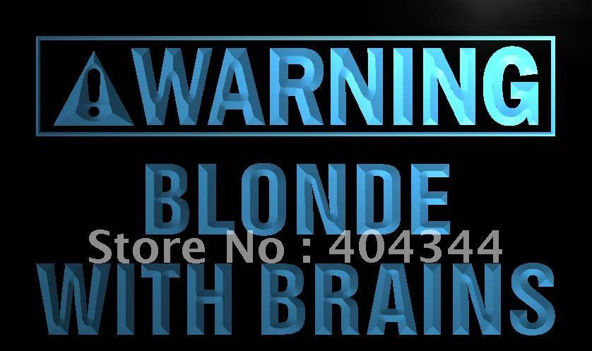LN885- Warning Blonde With Brains LED Neon Light Sign home decor shop crafts(China (Mainland))