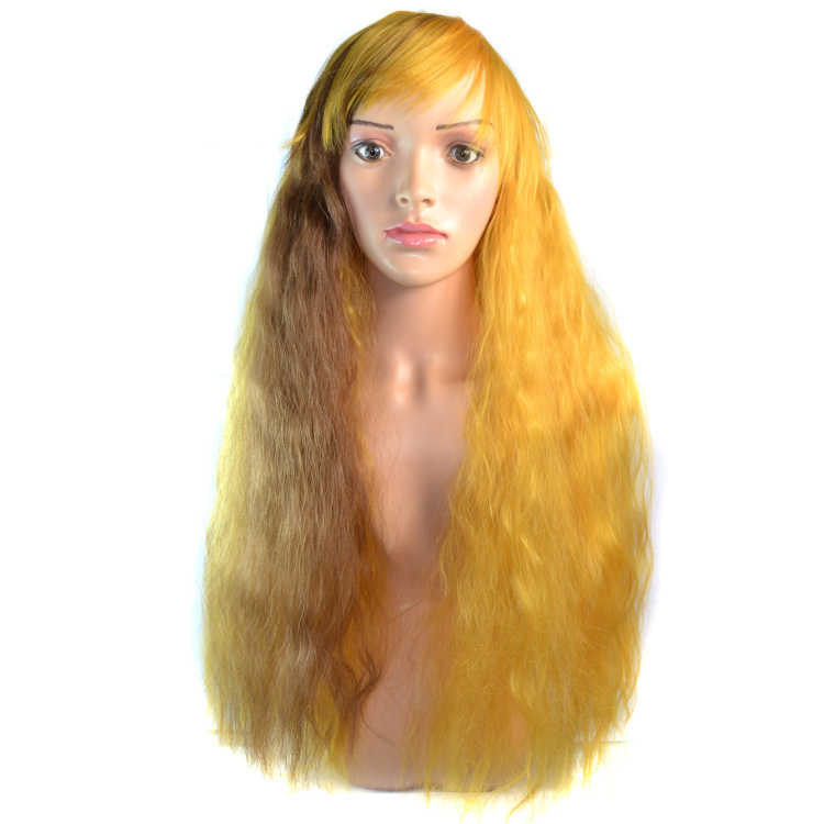 Fashion! 70cm long curly yellow brown color Prom toupee ,cosplay wig party hair free shipping(China (Mainland))