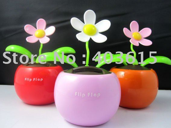 3pcs/lot  Magic Cute Flip Flap Swing  Solar Flower,Green,Blue,Pink Plant Solar Toy  Free Shipping