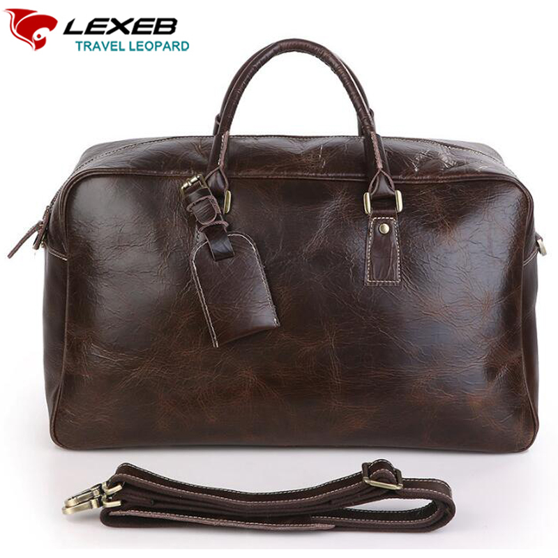 Lexeb Leather men bag luxury brand design Japan Style Large Travel Totes milled leather duffel bag, High Quality Chocolate(China (Mainland))