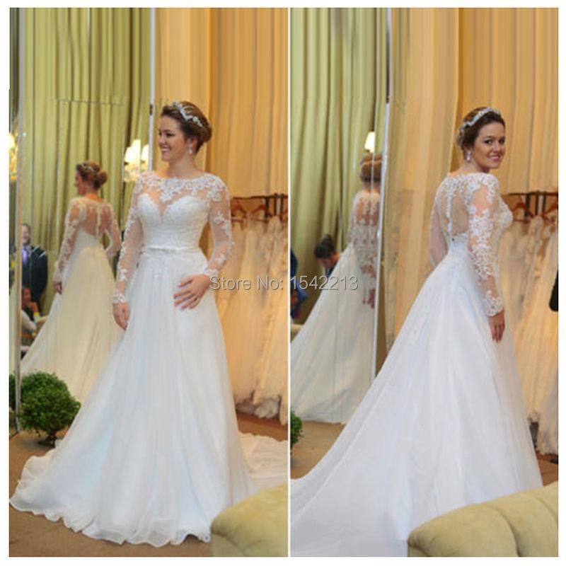 Длинные рукава кружева и аппликации свадебное платье элегантные свадебные платья Vestido Novia 2016 горячая распродажа
