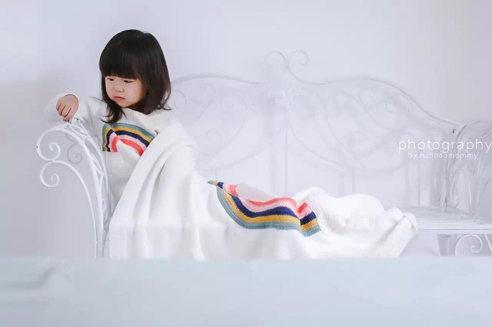 hot ins bobo chose  Europe  good quality fashion  Rainbow cotton knitting Baby kids swaddling Newborn Baby blanket  <br><br>Aliexpress