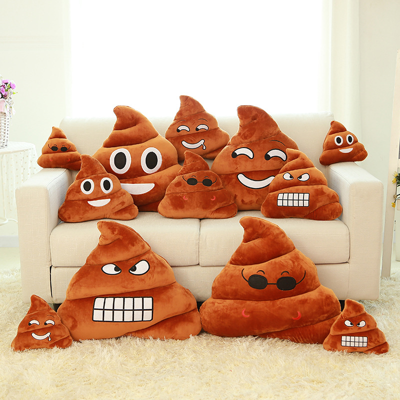 Poop Emoji Throw Pillow : 4 Styles 2015 New Cute Round Emoticon Cushion Plush Poop Emoji Pillow Decorative Throw Christmas ...