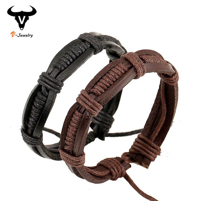 Новый мужской запястья кожаные браслеты для женщин мужчины конопли веревки переплетения ...