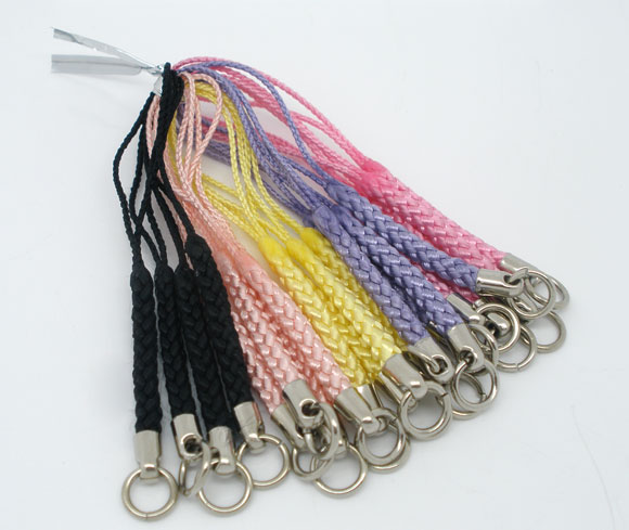 100Pcs Mixed Mobile Cell Phone Lanyards Straps Braided Plaited Cord Jewelry Findings 80mm<br><br>Aliexpress