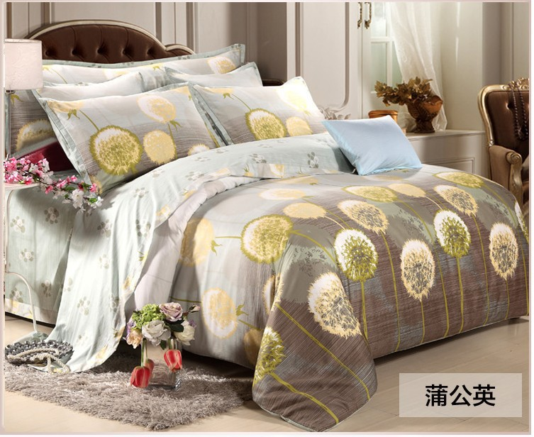 Luxury Egyptian Cotton Bedding Set Yellow Dandelion Fitted