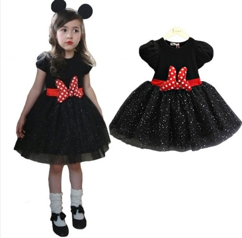 Cotton Short Sleeve Summer Bowknot Sequin Baby Girl Tutu Dress Up Costume Kids Children Party Casual Enfant Robe Vestido Menina(China (Mainland))
