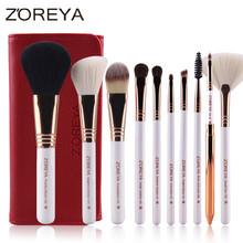 ZOREYA Brand 10pcs Makeup Brushes Rose Gold Cosmetic Brush Foundation Eyeshadow Eyeliner Lip Brush Kits With PU Leather Bag(China (Mainland))