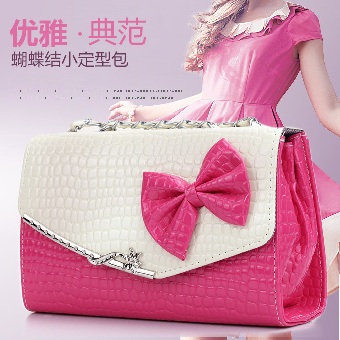 Korean patent leather handbag fashion shoulder bag stone grain bread bright bow chain bag factory outlets(China (Mainland))