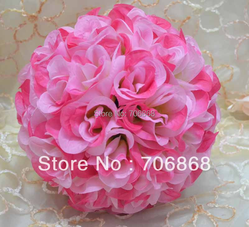 Artificial silk wedding decoration kissing rose flower ball 5(China (Mainland))