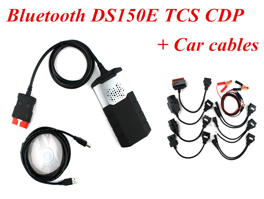 Анализатор двигателя + TCS CDP Bluetooth V2 cables.r2 DS150e DS150 TCS CDP with bluetooth japen nec relay latest new vci vd tcs cdp pro bt obd2 obdii obd with best pcb chip green single board