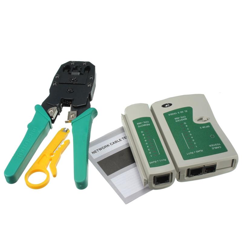 HIGH SPEED PRO RJ45 RJ11 RJ12 CAT5 CAT5e Portable LAN Network Tool Kit Utp Cable Tester AND Plier Crimp Crimper Plug clamp PC(China (Mainland))