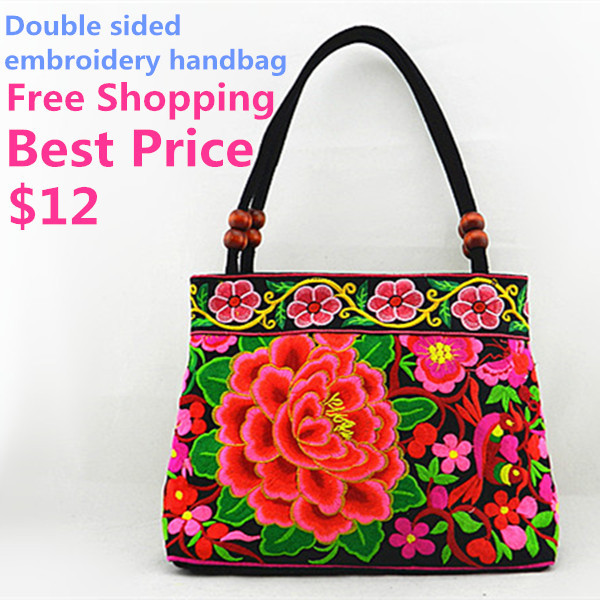 Women handbags embroidered bags cloth shoulder bags canvas ladies desigual embroidered designer handbags grip(China (Mainland))