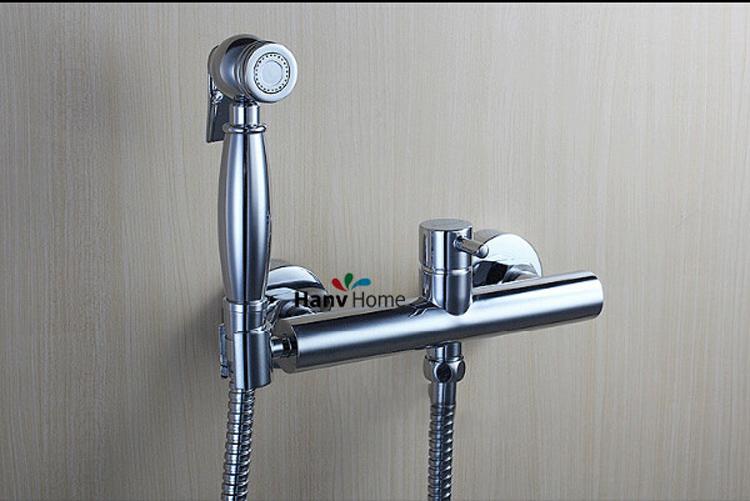 brass toilet held bidet spray shattaf brass cold water valve mixer with holder hose jpg