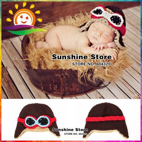 Fashion New style Pilot Navy hat baby aviator hats Handmade crochet Photography props newborn Baby cap #3C2670 10 pcs/lot(China (Mainland))