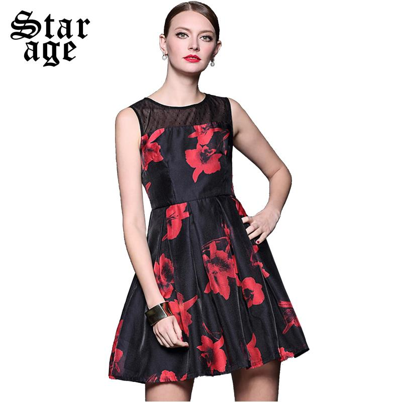 S-XXL Brand Women Red Floral Print Organza Dress Summer Ladies Big Size O-Neck Sleeveless Knee Length Casual A-Line Dresses 8501(China (Mainland))