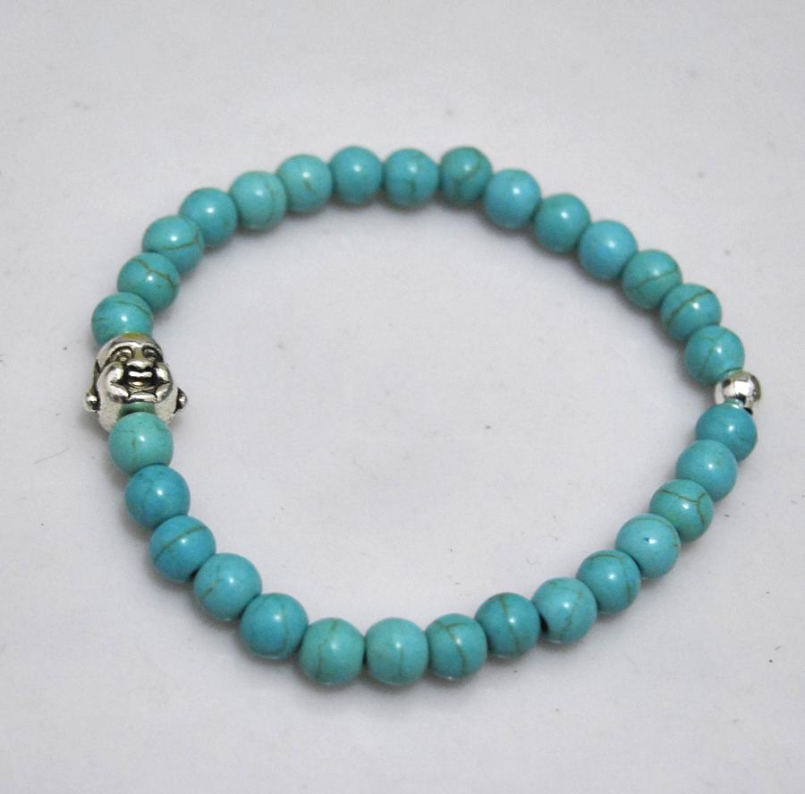 6mm green bracelets turquoise bracelet silver beads Tibetan silver Buddha bracelet for woman / men wholesale(China (Mainland))