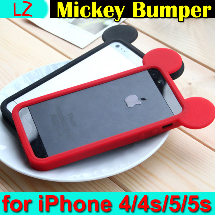 Lovely Cute 3D Cartoon Mickey Mouse Ears Silicone Rubber Soft Case Protective Bumper Cover sFor iPhone 4 4s 5 5s Fundas Coque - LZ International Trading Co., Ltd store