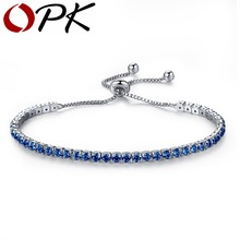 OPK AAA Cubic Zirconia Tennis Bracelet For Women Shining Silver Blue Green Purple Black Birthstone Crystal Bracelet Jewelry, 970(China (Mainland))