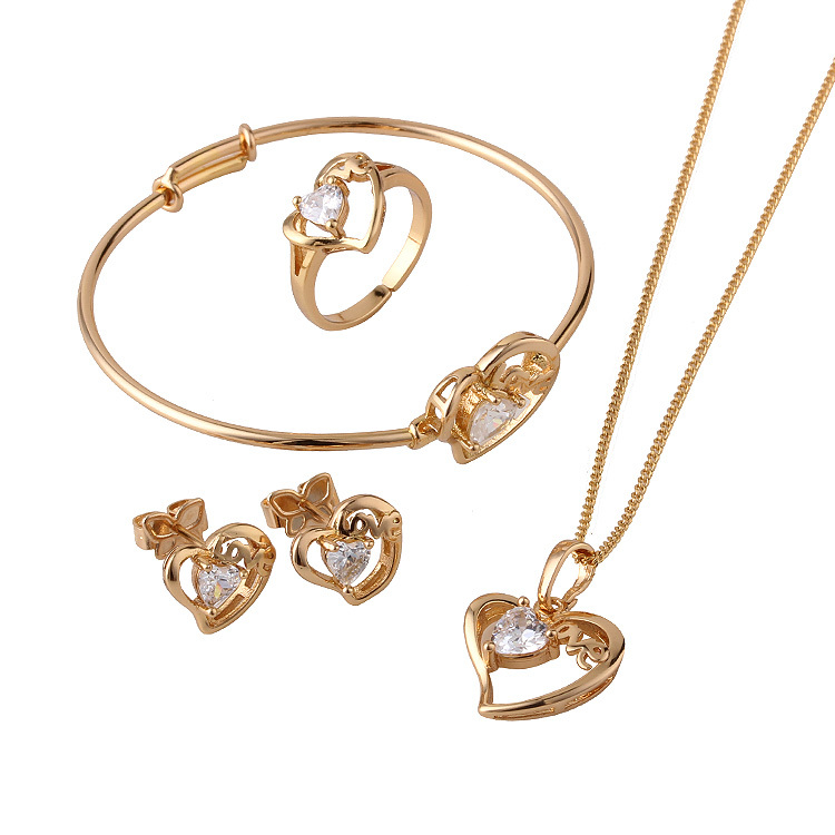 18K Gold Plated Children Heart Jewelry Sets,Kids Jewellery, Free shipping(S18K-50)(China (Mainland))