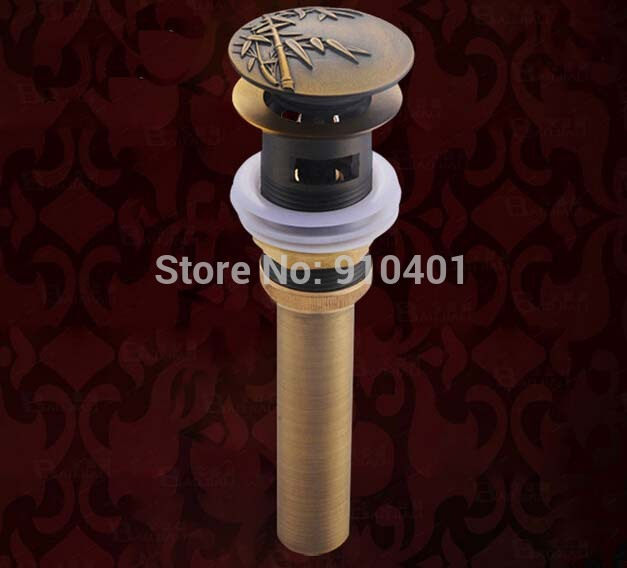 Hot Sale Wholesale And Retail Promotion Antique Brass Bamboo Shape Basin Sink Drain Pop Up Waste Vanity With Overflow(China (Mainland))