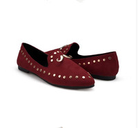New Style Ladies Pointed Toe Rivets Decoration Fashion Flat Shoes Women Spring Summer Comfortable Office Casual Flats