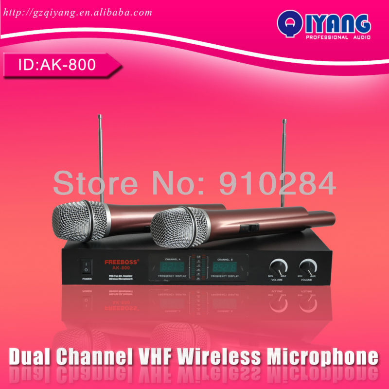High quality Dual Channel cheap professional ktv karaoke VHF Wireless Microphone system AK-800(China (Mainland))