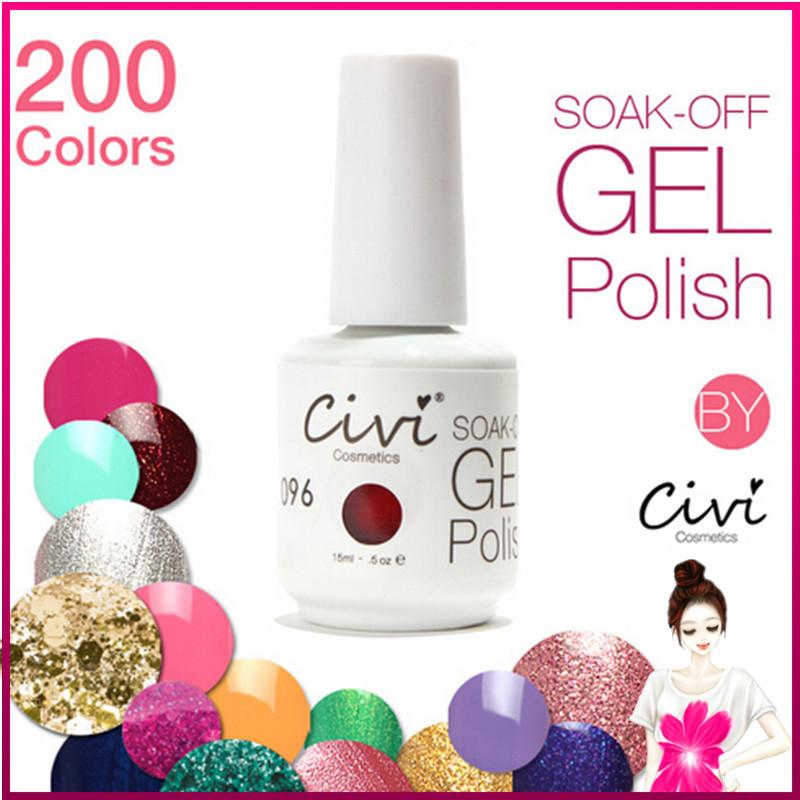 Choose 6 pcs Nail Gel Polish Soak Off Nail Gel UV 30 Days Long Lasting 200 Gorgeous Colors(China (Mainland))