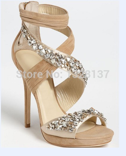 Nude Heel Sandals Black Shoes Suede High Heeled Shoes Women Sandals Platform Shoes High Thin Heels Brand Women Shoes Rhinestone<br><br>Aliexpress