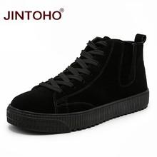 JINTOHO kış erkek ayakkabısı moda kahverengi deri çizmeler erkekler için rahat kar botları ucuz erkekler kış çizmeler rahat deri ayakkabı(China)