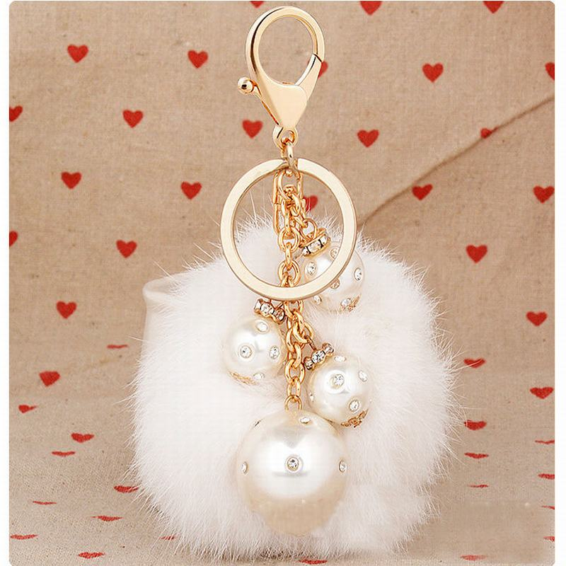 The new rabbit fur ball pearl pendant key chains hot female fashion bag ornaments car ornaments(China (Mainland))