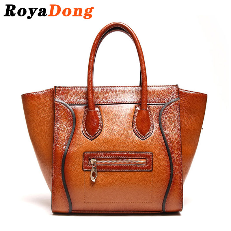 RoyaDong Brand 2016 New Women's Handbags Genuine Leather Bags High Quality Vintage Shoulder Bag Ladies Small Smile Trapeze Bag