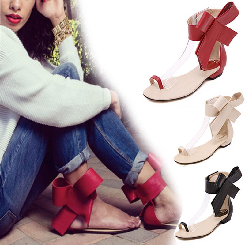 2015 Fashion Women Sandals with Bowtie Sexy Flat Heel Flip Flops Women Shoes Summer style Sandal Women Sapato Feminino(China (Mainland))