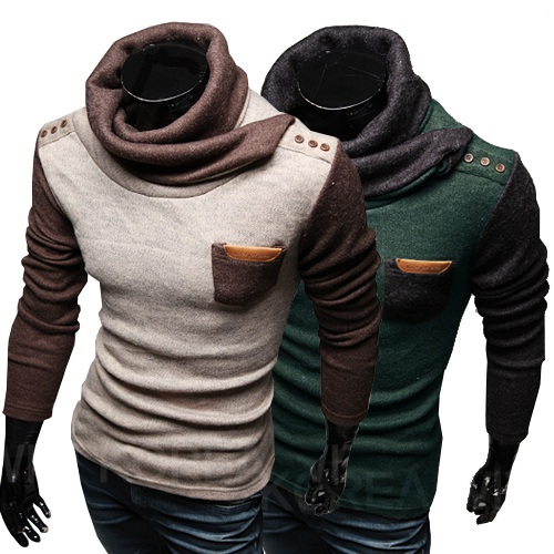 Size M-XXL Cold Winter Warm Rib Stitch Men Turtleneck Pullovers Casual Patchwork Fashion Sweaters England Sweater(China (Mainland))