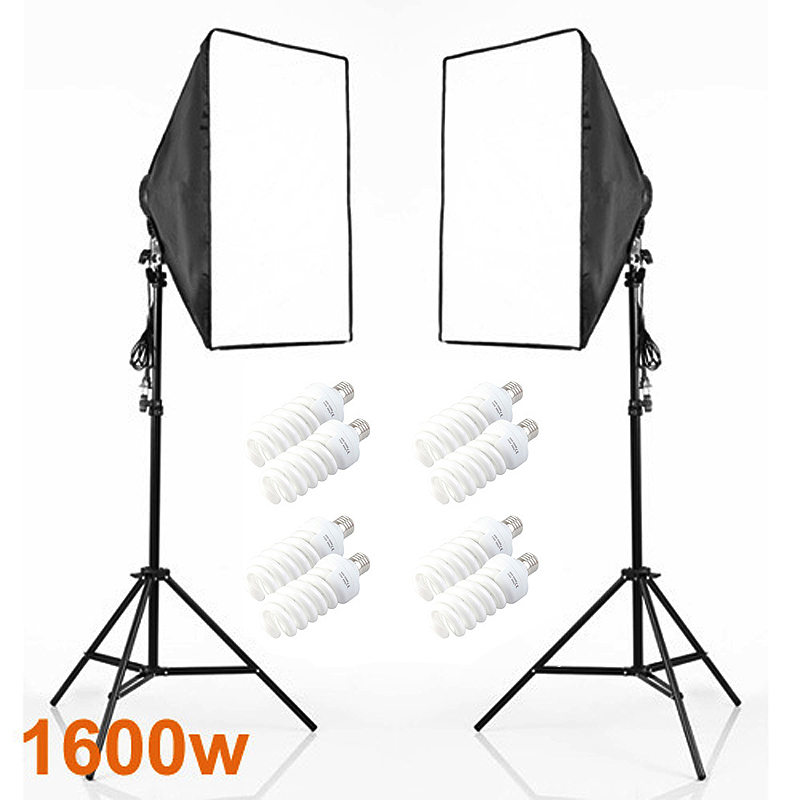 Photography Studio Soft Box Continuous Lighting Kits E27 4 Socket Head+Softbox*2+Light Stand*2+Daylight x Photo Set - Ying Nuo Photographic Accessory Limited Company store