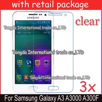 free shipping 3x clear screen protector lcd film guard case For Samsung Galaxy A3 A3000 A300F,with retail package