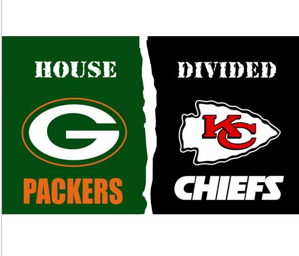 3x5 ft Green Bay Packers VS Kansas City Chiefs house divided flag 150x90cm 2 metal grommets(China (Mainland))
