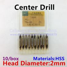 Buy 10 / box, 60-degree center drill, without protective cone composite center drill 60 degrees, high-speed steel HSS. 2mm for $3.50 in AliExpress store