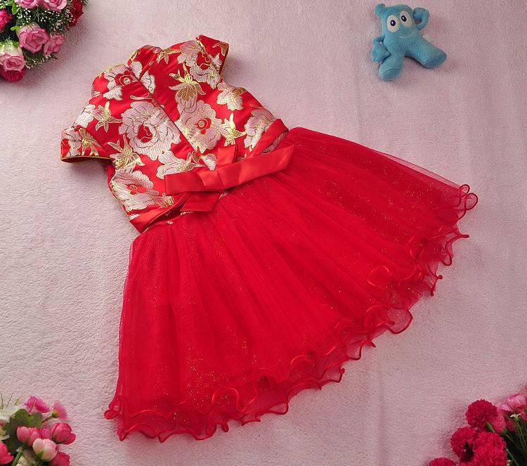 Скидки на Бесплатная доставка Новый год Красный Китайский Стиль костюм младенца Малыша ребенка Девушка Cheongsam Платье Qipao Бальное платье Принцессы девушки вуаль платье