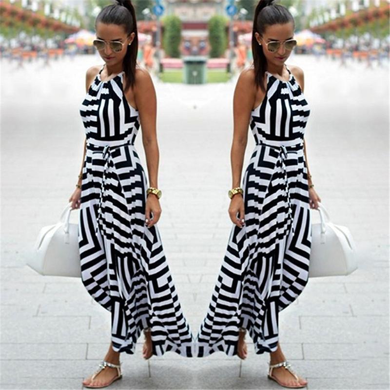 Женское сексуальное летнее платье Бохо в полоску без рукавов макси длинное aeProduct.getSubject()