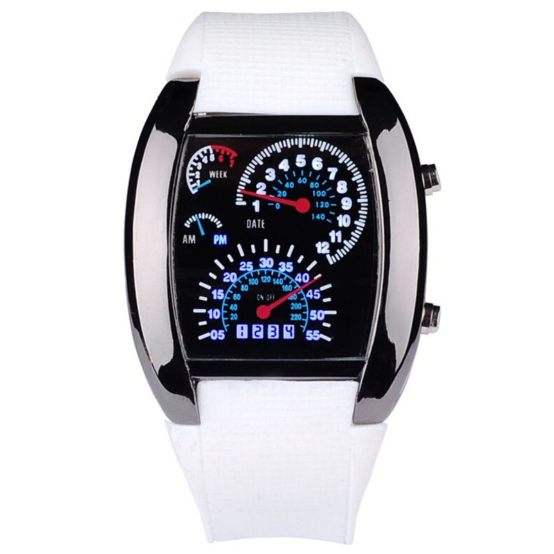 Men Sports Watches LED Digital Watch Men's Race Speed Car Meter Dial Silicone Strap Male Military Wristwatch relogio masculino - 's store
