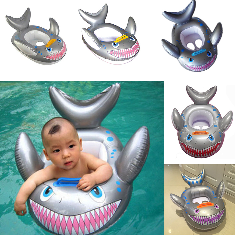 2016 New Shark Shaped Kids Inflatable Baby Toddler Swimming Swim Seat Float Pool Fish Ring Random Color(China (Mainland))