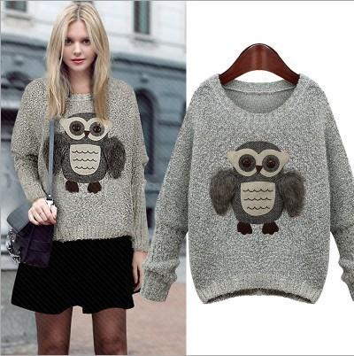 Женщина пуловеры для женщин 2016 свитер европа зима сова станция толще длинным рукавом ...