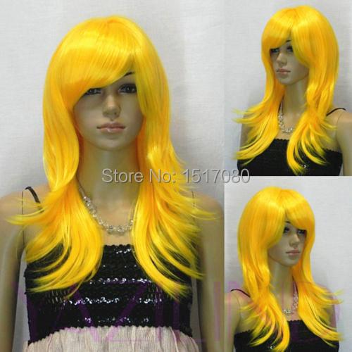 Long Straight Layered Bright Orange Cosplay Synthetic Hair Full Wig(China (Mainland))