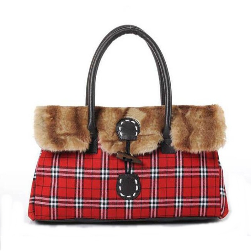 Handbags Women Bags 2015 Faux Fur England Style Plaid Canvas Ladies Shoulder Bags Travel Tote Bags Bolsa Feminina Sac A Main<br><br>Aliexpress