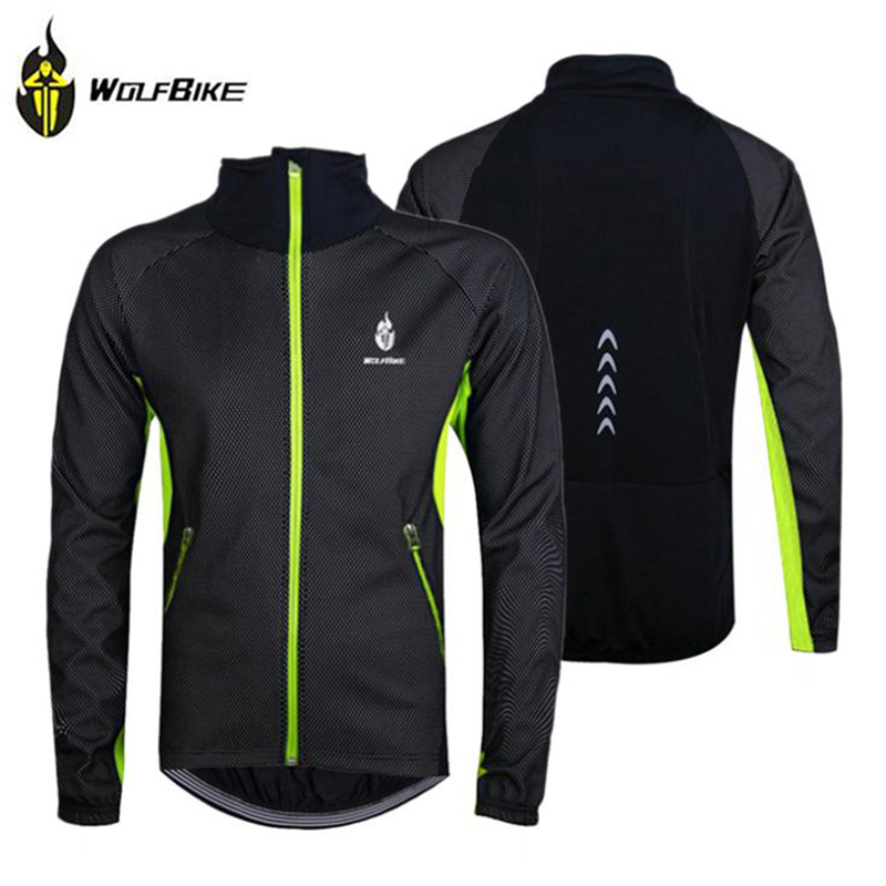 WOLFBIKE Men's Fleece Thermal Winter Wind Coat Outdoor Sports Cycling Jacket Windproof Bicycle Long Sleeve Jersey Top Waterproof - Top-touch Technology Co.,Ltd store
