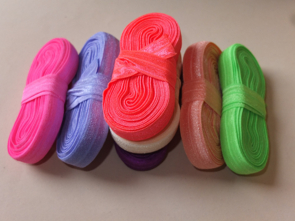 5 yards/color Fold Over Elastic 5/8″ solid FOE Elastic Ribbon DIY Elastic Hair Elastic Hair Ties Baby Headband Hair bow Supplies