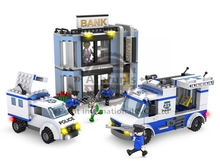 COGO 3915 Police Series Rob the Bank Police Car Helicopter 570pcs Building Block Educational DIY Brick Toys Compatible With Lego