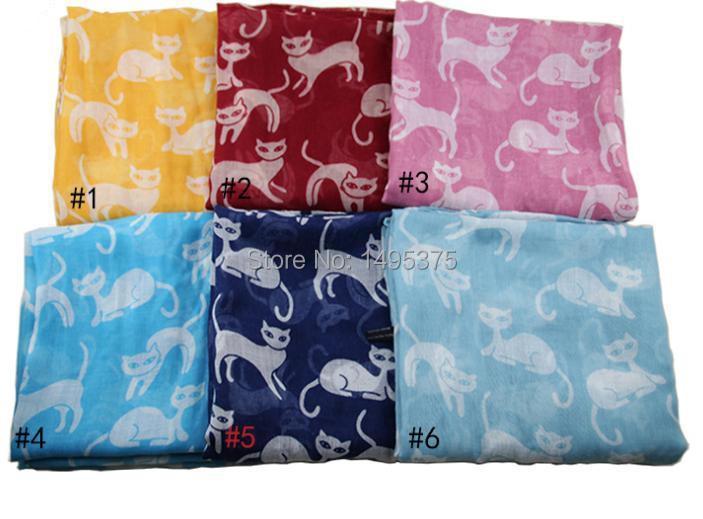 120pcs/lot 2015 new fashion spring summer cute cat print scarf shawl pashmina cat scarf(China (Mainland))
